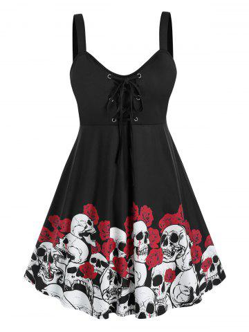 Plus Size Halloween Skull Flower Lace-up Tank Top