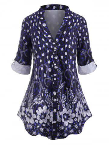 Plus Size Floral Print Roll Up Sleeve Blouse - DEEP BLUE - 3X