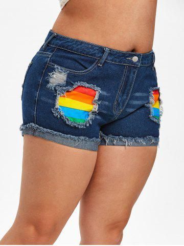 Plus Size Rainbow Patched Frayed Ripped Denim Shorts