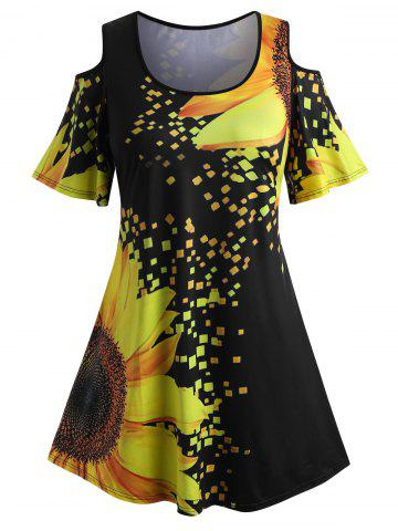 Plus Size Rainbow Color Butterfly Print Cold Shoulder T Shirt - YELLOW - 4X