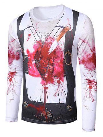 Halloween Stab Heart Faux Suit Pattern Crew Neck T Shirt
