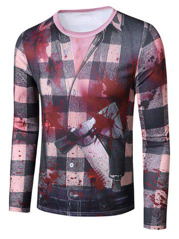 Halloween Blood Faux Suit Pattern Slim Fit Tee - RED - 2XL