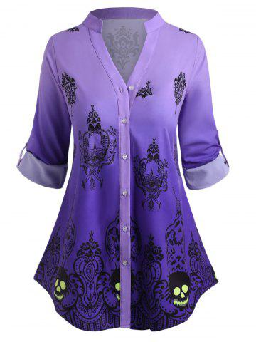 Plus Size Halloween Tribal Print Ombre Roll Up Sleeve Top