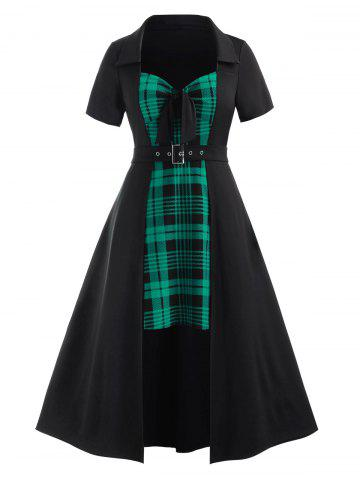Plus Size Bowknot Plaid Splicing Asymmetric Dress - SEA TURTLE GREEN - L