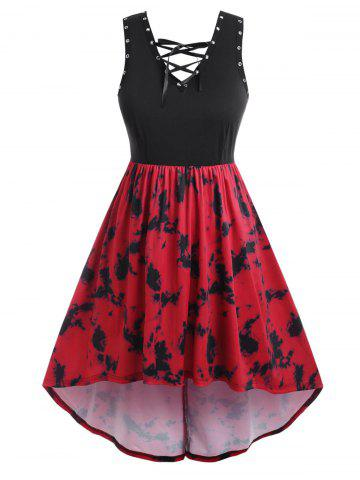 Plus Size Tie Dye Lace Up Eyelet High Low Dress - RED - 2X