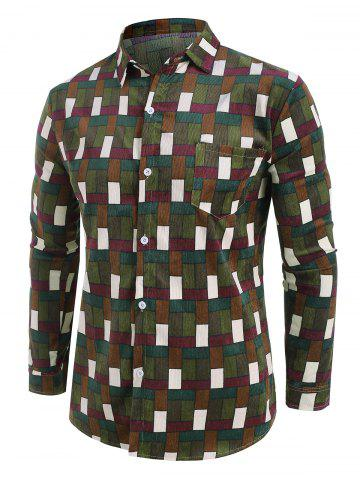 Colorblock Grid Pattern Corduroy Button Up Shirt - BROWN - 4XL