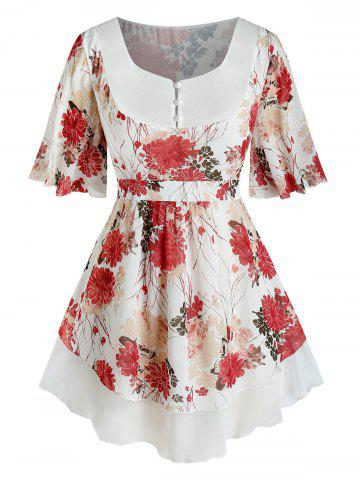 Plus Size Flower Chiffon Flutter Sleeve Tunic Blouse
