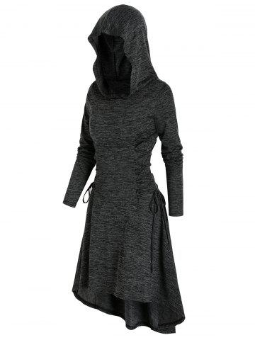 Space Dye Print Hooded Lace-up High Low Dress - CARBON GRAY - 2XL