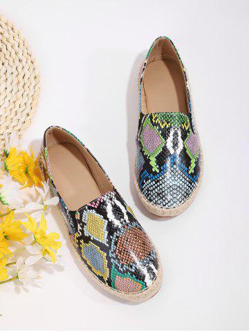 Snake Print Espadrilles Flat Loafer Shoes - MULTI-A - EU 40