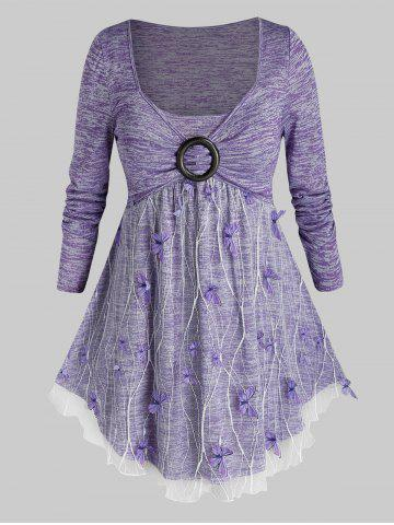Plus Size Lace Overlay Butterfly Space Dye Tunic Tee - MAUVE - 4X