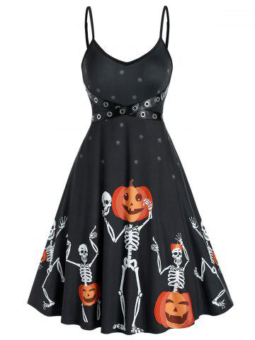 Halloween Skeleton Pumpkin Pattern Crisscross Strap Slip Dress