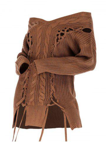 Plus Size Off The Shoulder Lace Up Sweater - COFFEE - M