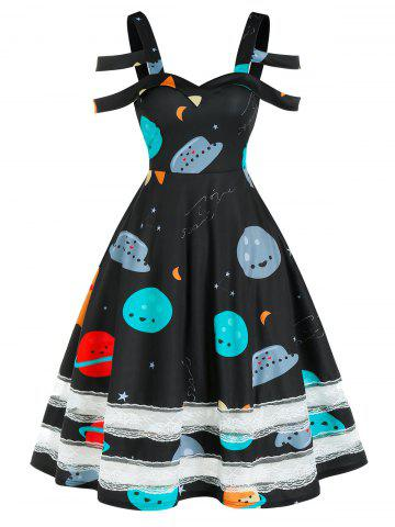Cartoon Planets Print Lace Insert Cold Shoulder Dress