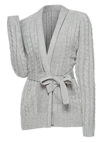 Plus Size Cable Knit Belted Cardigan - GRAY - M