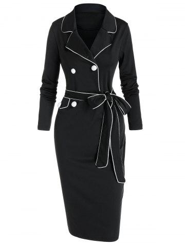 Contrast Piped Lapel Collar Belted Bodycon Dress