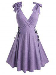 Plus Size Lace Up Tie Shoulder Surplice Dress -