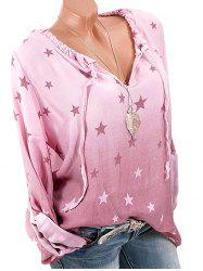 Ruffled Ombre Star Print Long Sleeve Blouse -