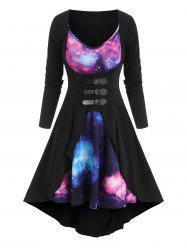 Galaxy Print Cami Dress and Buckled Coat Set -
