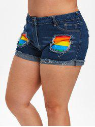 Plus Size Rainbow Patched Frayed Ripped Denim Shorts -