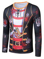 Halloween Scary Hand Faux Suit Pattern Slim Fit T Shirt -