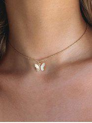 Chain Butterfly Pendant Choker Necklace -
