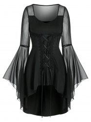 Lace Up Sheer Flare Sleeve Gothic T Shirt -