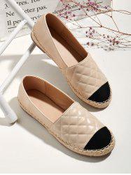 Contrast Toe Quilted Espadrilles Loafer Flats -