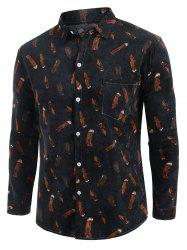 Feather Print Pocket Casual Corduroy Shirt -