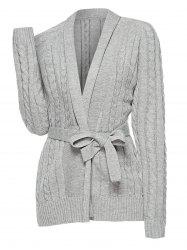 Plus Size Cable Knit Belted Cardigan -
