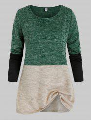 Plus Size Contrast Colorblock Ribbed Tunic Sweater -