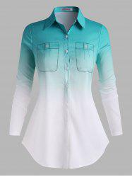 Button Down 3D Print Ombre Plus Size Shirt -