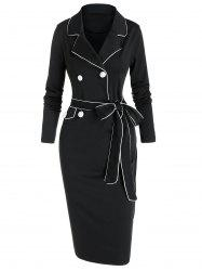 Contrast Piped Lapel Collar Belted Bodycon Dress -