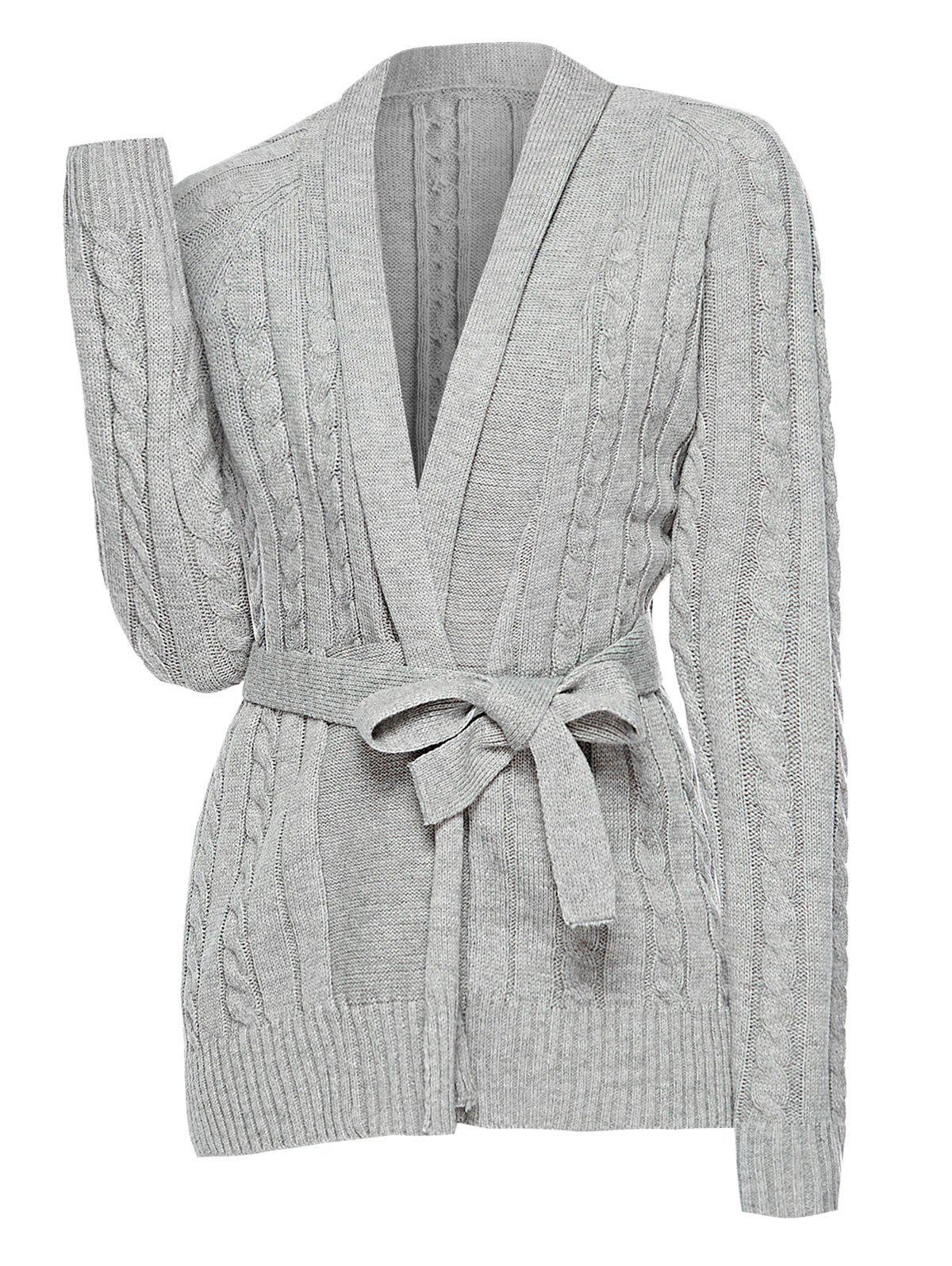 Best Plus Size Cable Knit Belted Cardigan