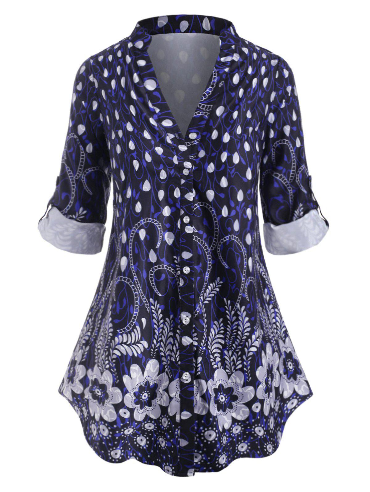 Outfits Plus Size Floral Print Roll Up Sleeve Blouse
