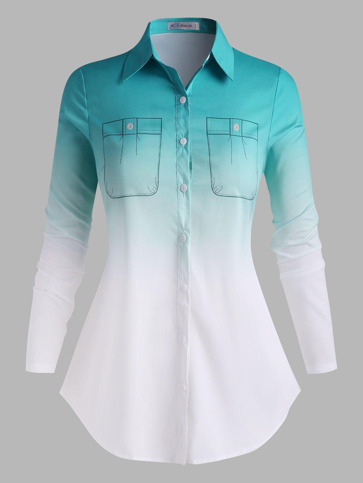Unique Button Down 3D Print Ombre Plus Size Shirt