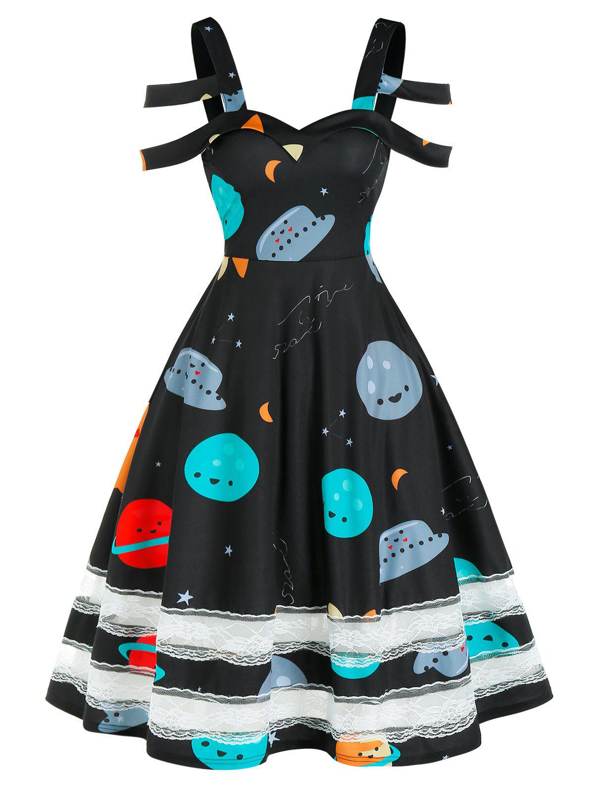 New Cartoon Planets Print Lace Insert Cold Shoulder Dress