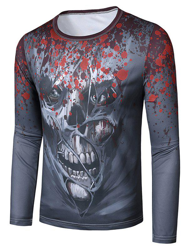 Affordable Halloween Scary Skull Pattern Slim Fit T Shirt