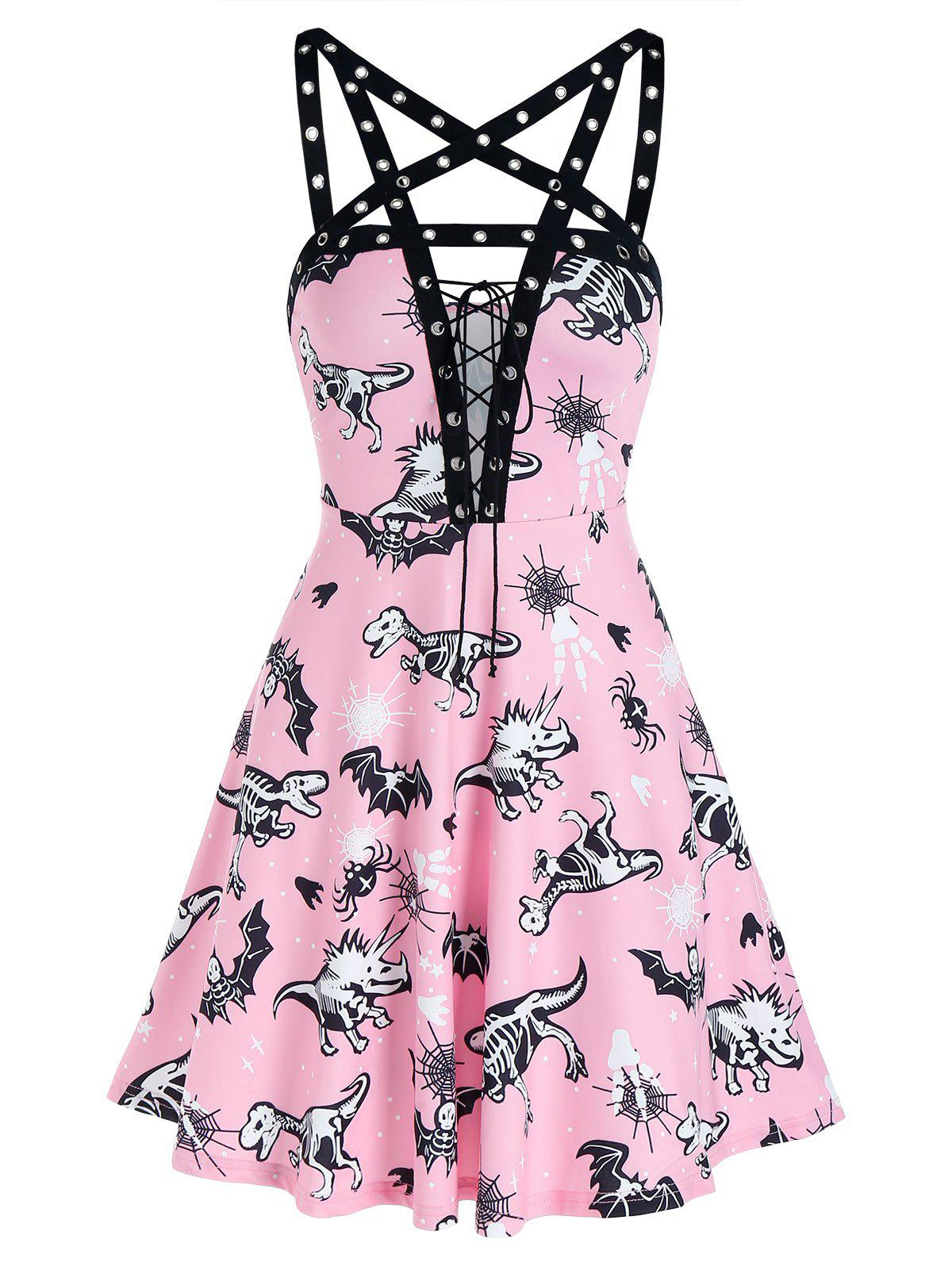 Unique Animal Skeleton Print Lace Up Grommet Strap Cami Dress