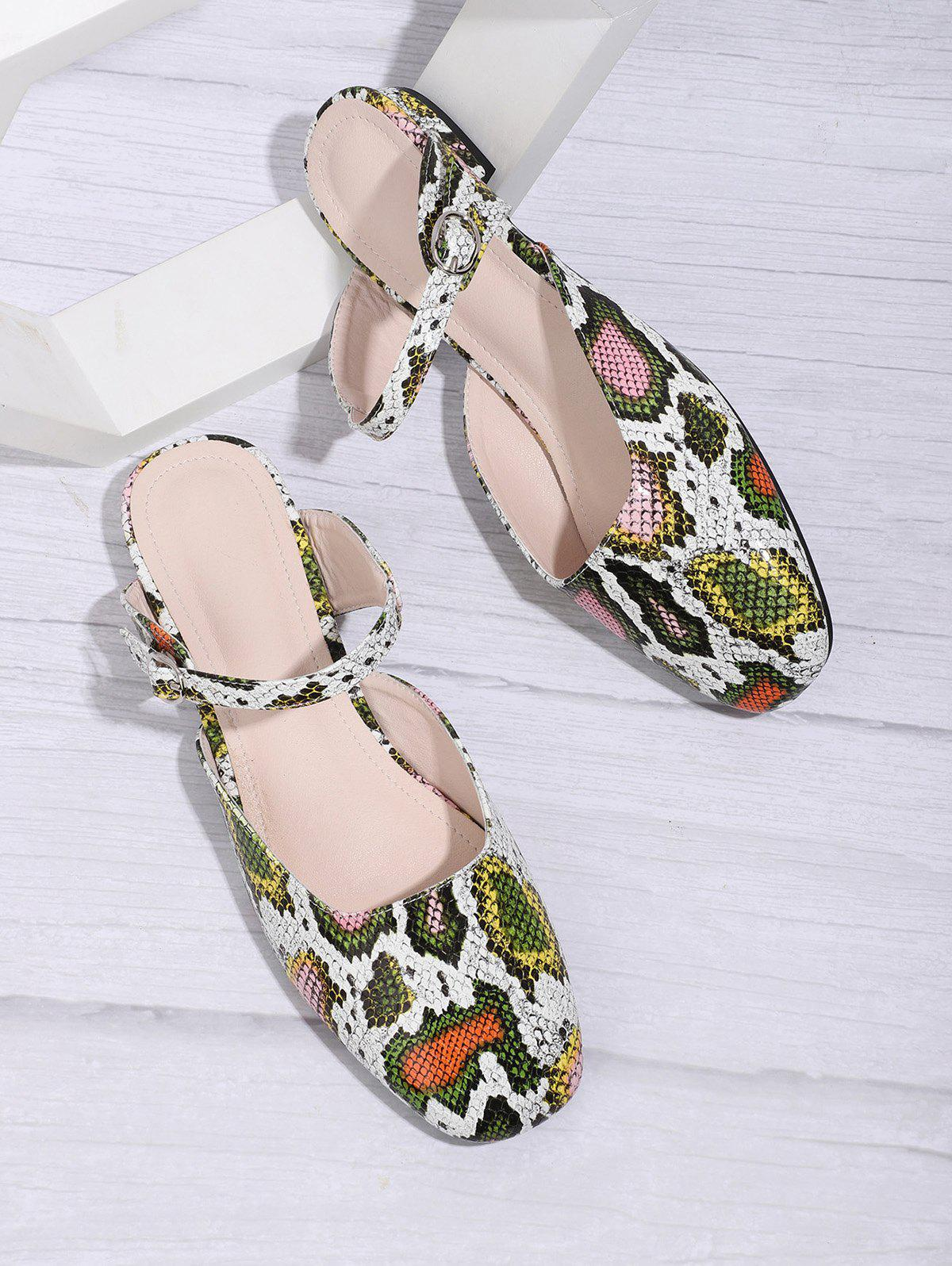 Outfits Square Toe Snake Print Half Flat Shoes