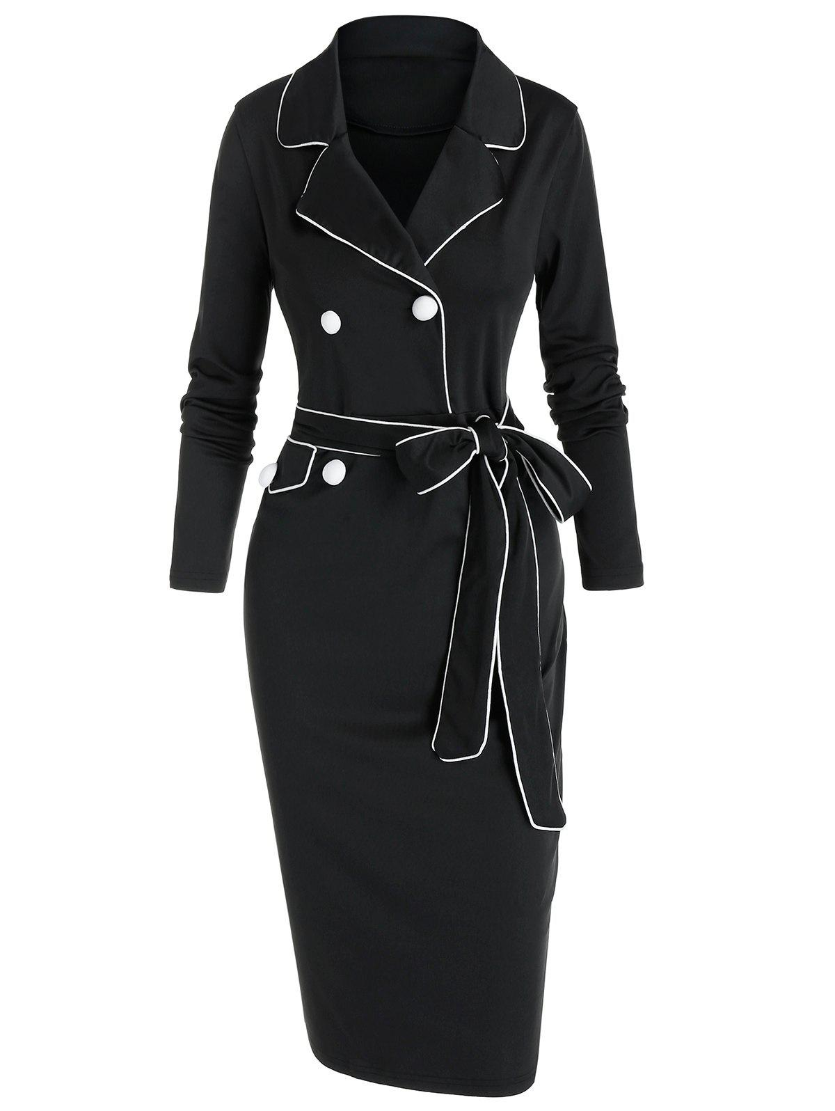 Chic Contrast Piped Lapel Collar Belted Bodycon Dress
