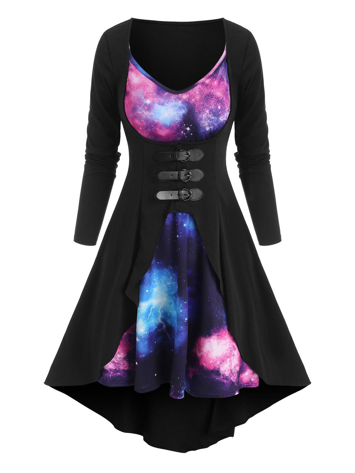Fashion Galaxy Print Cami Dress and Buckled Coat Set
