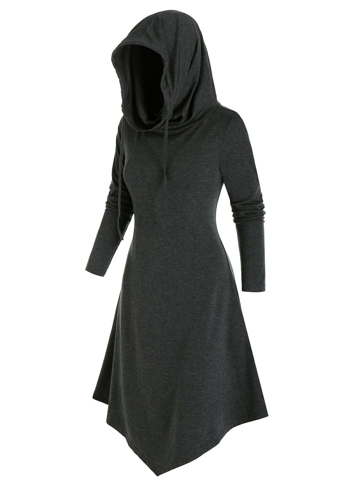 Best Pointed Hem Hooded Lace-up Heathered Midi Dress