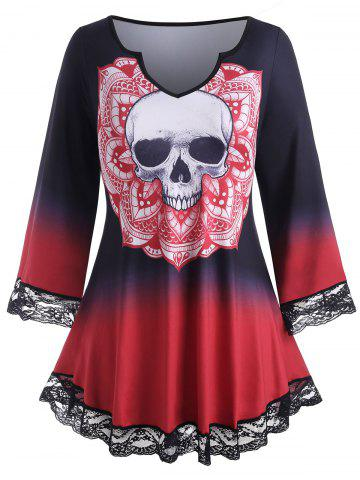 Plus Size Skull Print Halloween Ombre Color Tee - RED - 3X
