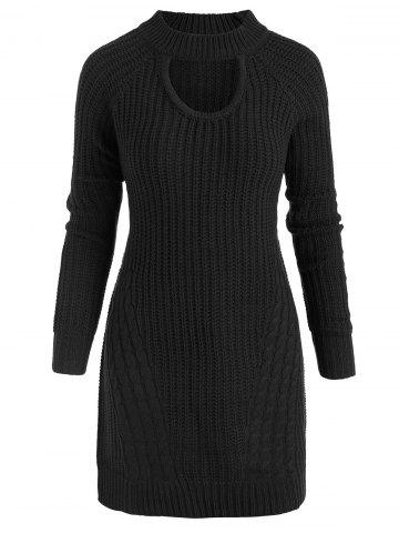 Plus Size Mock Neck Cable Knit Sweater with Keyhole - BLACK - XXXL