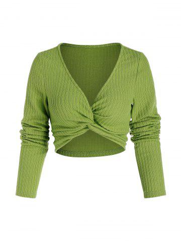 Front Twist Ribbed Crop Sweater