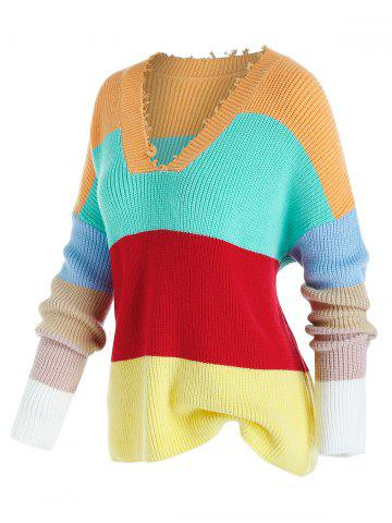 Plus Size Color Blocking Drop Shoulder Frayed Sweater - MULTI - 5X