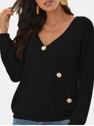 V Neck Buttons Honeycomb Knitwear -