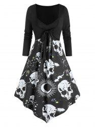 Skull Starry Print 2 in 1 Bowknot Asymmetrical Dress -
