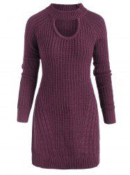 Plus Size Mock Neck Cable Knit Sweater with Keyhole -