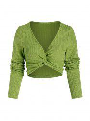 Front Twist Ribbed Crop Sweater -